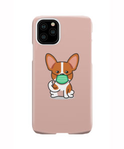 Cute Puppy Wearing Protective Face for Custom iPhone 11 Pro Case Cover