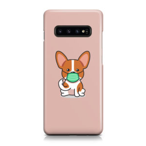 Cute Puppy Wearing Protective Face for Cute Samsung Galaxy S10 Plus Case