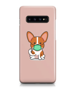 Cute Puppy Wearing Protective Face for Nice Samsung Galaxy S10 Case Cover