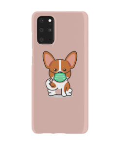 Cute Puppy Wearing Protective Face for Premium Samsung Galaxy S20 Plus Case Cover