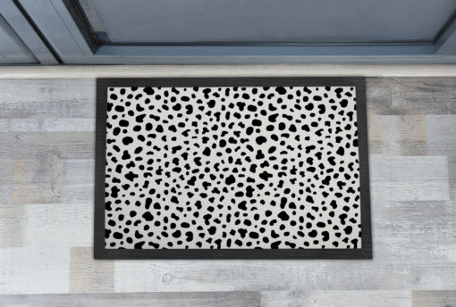 Awesome Black and White Dalmatian Cow Skin Front Doormats