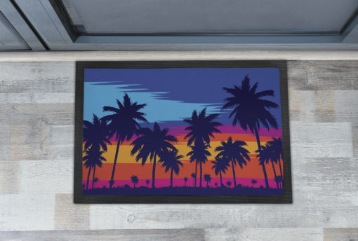 Awesome Palm Trees Sunset Drawing Extra Large Doormats