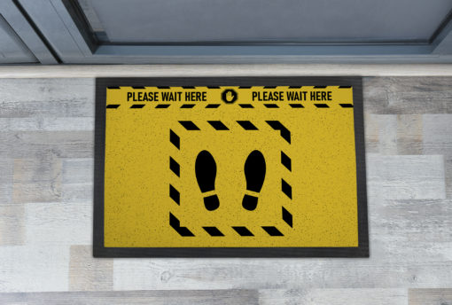 Awesome Please Wait Here Yellow Warning Front Doormats