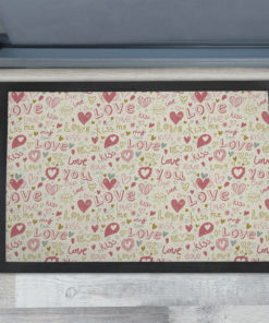 Awesome Romantic Hearts Valentines Day Personalised Doormats UK