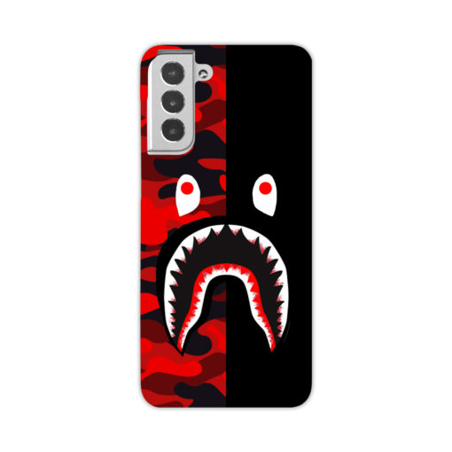 Bathing Bape Camo Shark Black Red for Personalised Samsung Galaxy S21 Case
