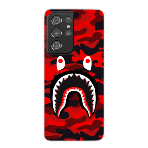 New Bathing Bape Camo Shark Red for Premium Samsung Galaxy S21 Ultra Case Cover