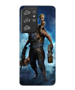 Rocket Raccoon and Baby Groot Heroes for Simple Samsung Galaxy S21 Ultra Case Cover